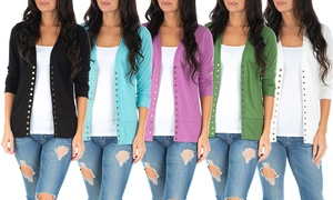 Women's 3/4 Sleeve Button-Down Cardigan. Plus Sizes Available.