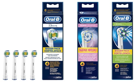 Four or Eight Braun OralB 3D White, Sensi Ultrathin or Coss Action Replacement Toothbrush Heads
