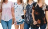 Reflection Women's Tie-Dye Loose-Cut V-Neck Tee. Plus Sizes Available.