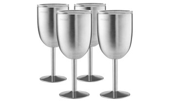 Double-Walled 18/8 Stainless Steel Wine Glasses (12 Oz.; 2- or 4-Pack)