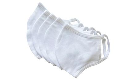 Unisex Non-Medical Reusable White Fabric Masks (5-Pack)