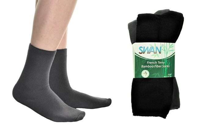 Men's Bamboo Fiber French Terry Socks with Cushioned Sole (2 Pairs)