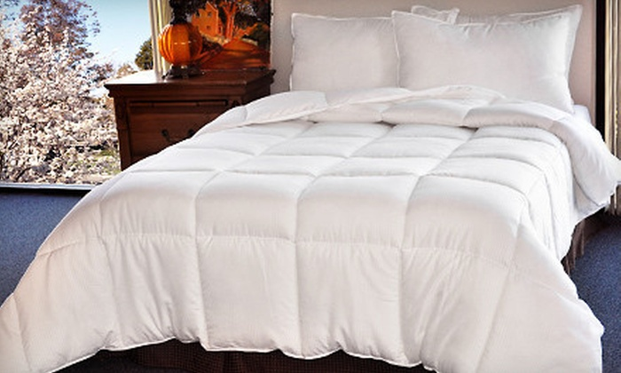 Microfiber-Embossed Down Alternative Comforter with Optional Two Pillows (Up to 68% Off). Four Sizes Available.