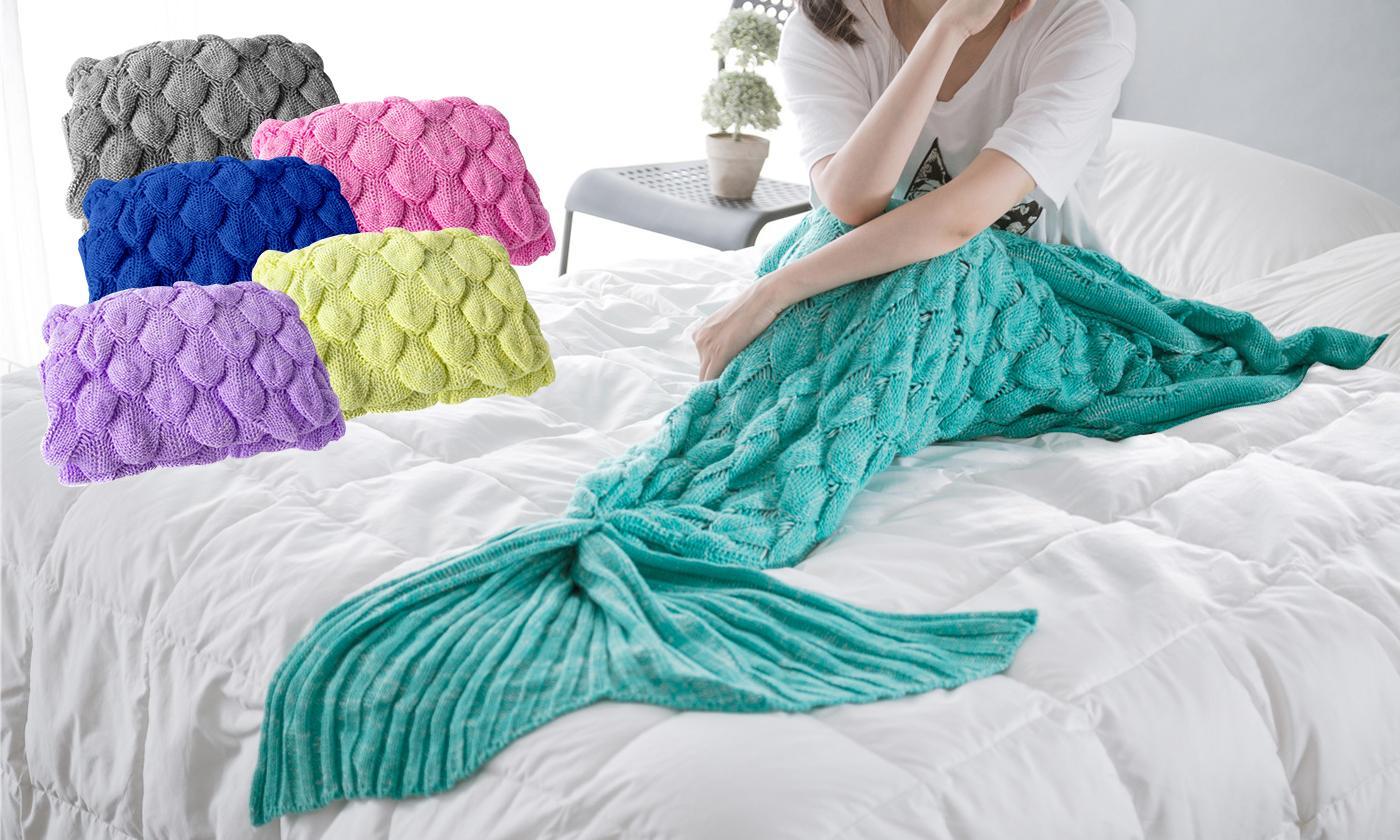 Mermaid Tail Bubble Chunky Knit Blanket