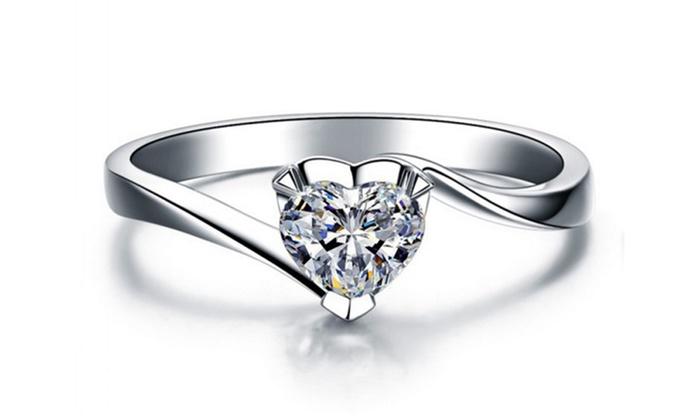 Groupon Goods Global GmbH: Bague Love de la marque Beloved ornée de cristaux swarovski®