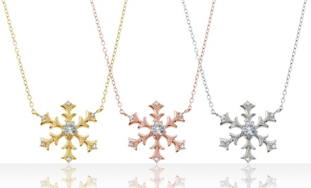 Sterling Silver and Cubic Zirconia Snowflake Necklace. Multiple Options Available.