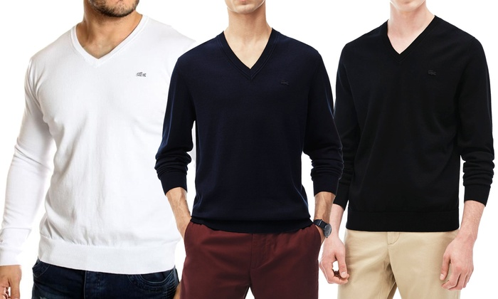6028c50bd0 Pull homme Lacoste col V 100% coton | Groupon