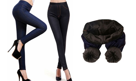 Fleece Lined DenimLook Jeggings for £9.98