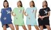 Oversize-Tunika mit Stern-Motiv und Seitentaschen für Damen
