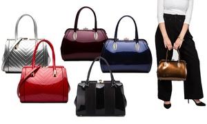 MKF Collection Patent Satchel Handbag By Mia K. Farrow