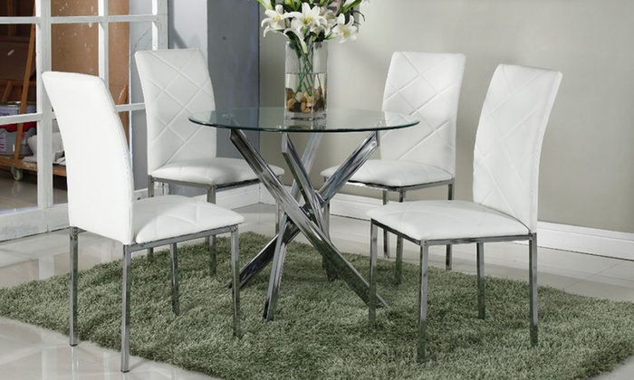 Glass Dining Table And Chairs Groupon Goods