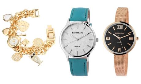 Reloj de pulsera Excellanc para mujer con joyería