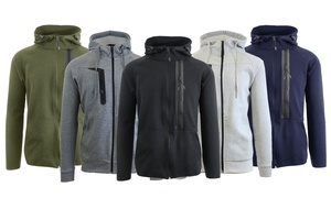 Galaxy by Harvic Men's Fleece Slim-Fit Hoodie with Zipper Chest Pocket