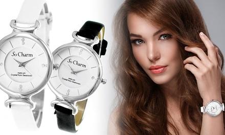 Charm Paris Armbanduhr für Damen mit Kristallen von Swarovski®verziert in Weiß oder Schwarz (75% sparen*)