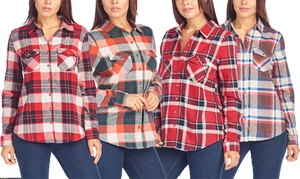 Women's Button-Down 100% Cotton Plaid Shirt with Front Pockets