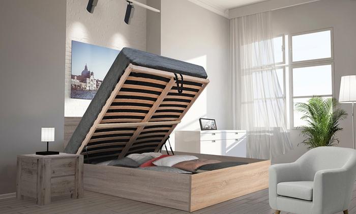Lit coffre Madrid avec tête de lit, sommier et matelas mémoire de forme en option, livraison gratuite