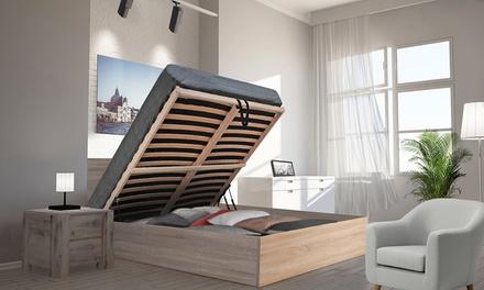 Lit coffre Madrid avec tête de lit, sommier et matelas mémoire de forme en option