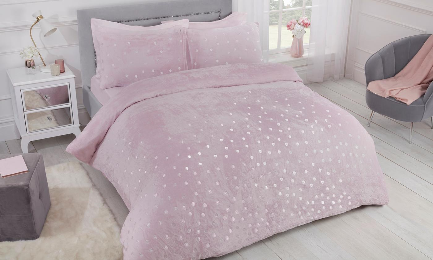 Pieridae Cosy Fleece Shimmer Polka Dot Duvet Set for £16