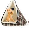 Plaid Tepee-Shaped Cat Bed