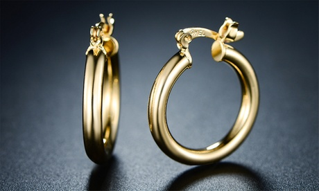 18K Gold Plated 15mm Hoop Earrings