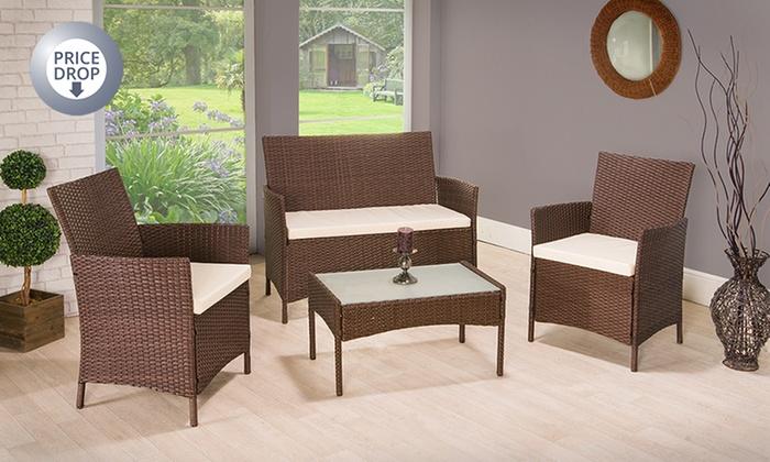 All weather 4 piece furniture set groupon goods for Garden furniture set deals
