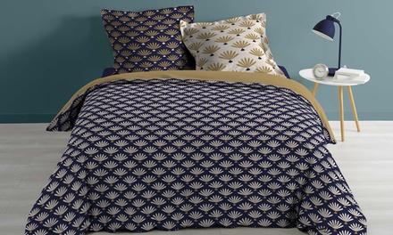 Pack linge de lit avec housse de couette imprimée, taies doreiller et drap housse uni