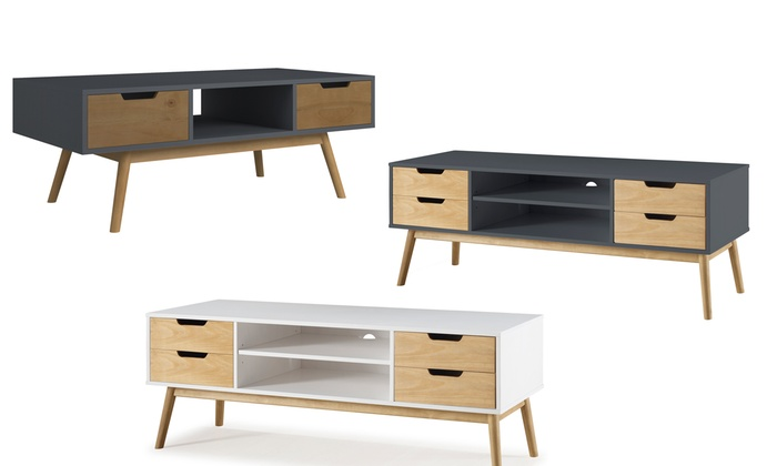 meuble tv table de salon groupon shopping. Black Bedroom Furniture Sets. Home Design Ideas