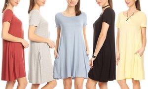 Nelly Short Sleeve Dress with Pockets. Plus Sizes Available