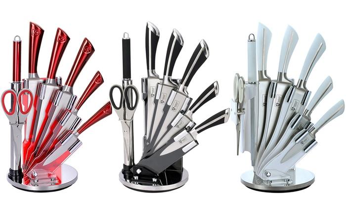 Bloc couteaux 7 pi ces avec support royalty line groupon - Set de cuchillos royalty line ...