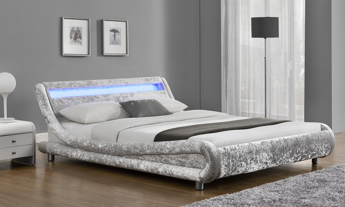 Galaxy LED Velvet Bedframe in Choice of Colour with Optional Mattress