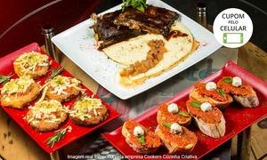 Cookers Cozinha Criativa: Cookers Cozinha Criativa –Asa Norte: tomates verdes fritos, minibruschetta e costela suína para 2 ou 4 pessoas