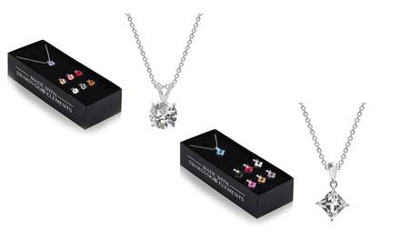 Set de 7 colgantes y un collar cuadrados o redondos con cristales de Swarokski® por 9,99 € (90% de descuento)