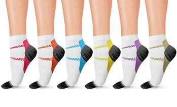 Unisex Ankle-Length Striped Compression Socks (6-Pairs)