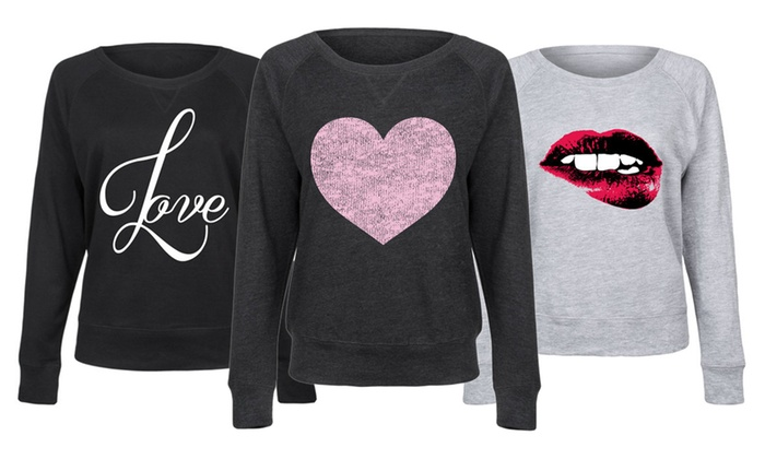 Women's Valentine's Love Slouchy Pullover: Women's Valentine's Love Slouchy Pullover