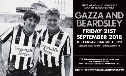 An Evening with Paul Gascoigneand Peter Beardsley, 21 September, The Lancastrian Suite (Up to 33% Off)