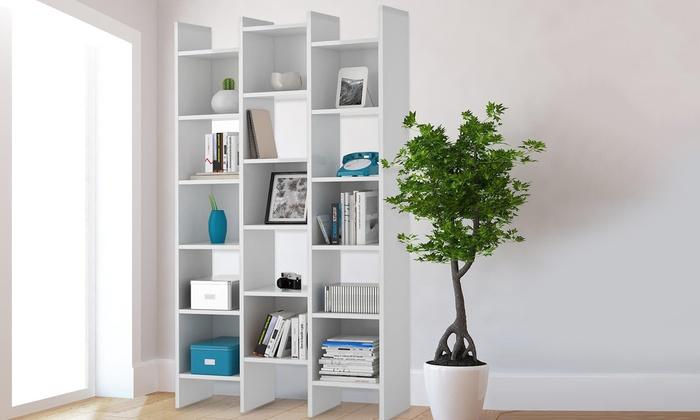 Groupon Goods Global GmbH: Libreria Squared con 15 vani con finitura color bianco lucido