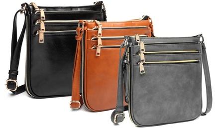 Three-Zip Crossbody Satchel Bag