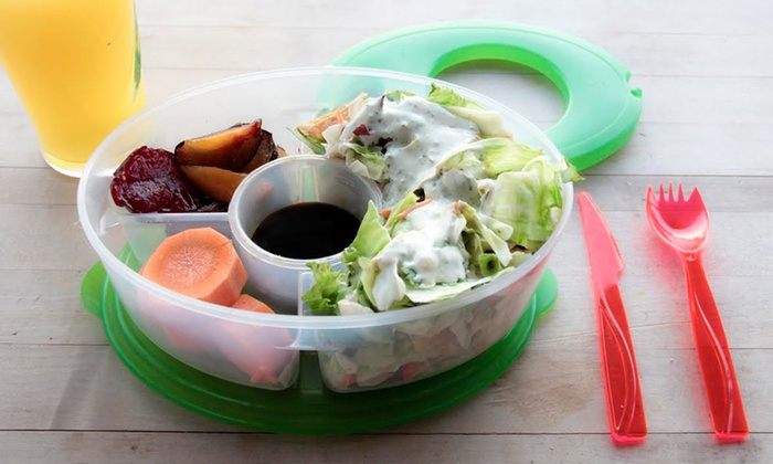 Salad to go lunch box 6 piece groupon for Decor 6 piece lunchbox