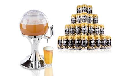 Dispensador de cervezas con forma de bola y/ 24 latas Chipys Beer