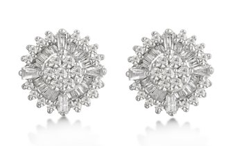 1/2 CTTW Diamond Cluster Earrings in Sterling Silver by DiamondMuse