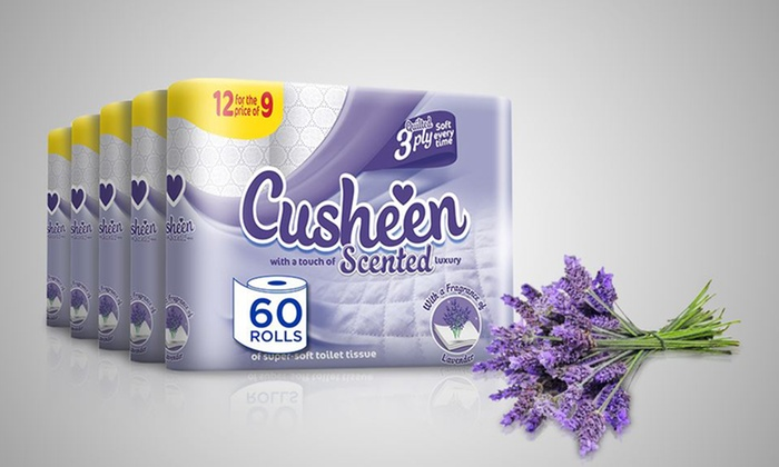 60 or 120 Rolls of Cusheen Quilted Lavender Toilet Paper for £14.99