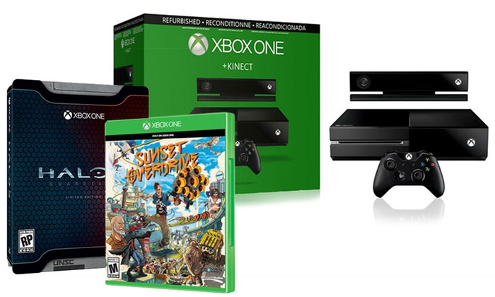 Xbox One Console with Kinect and Halo 5 Limited Edition and Sunset Overdrive (Manufacturer Refurbished)
