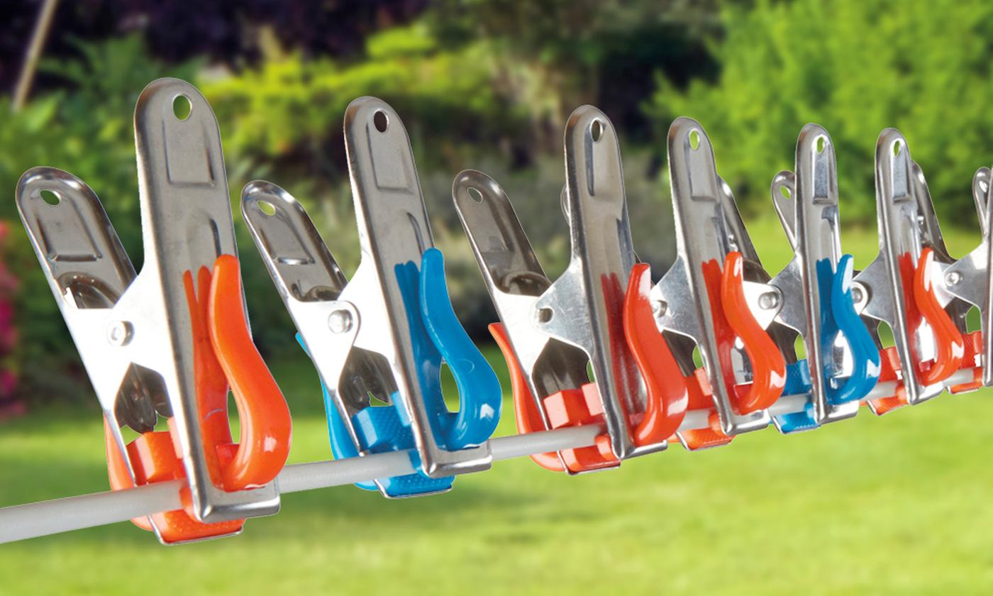 40 or 80 Stainless Steel Rust-Resistant Clothes Pegs with Hooks