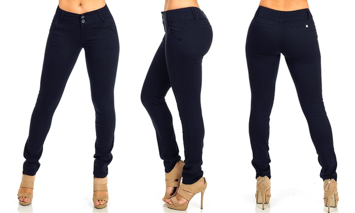 Women's Classic Butt-Lifting Junior-Size Skinny Pants (Size 7 ...