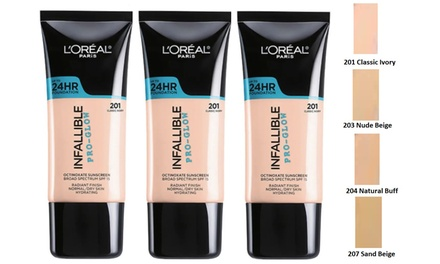 L'Oréal Infallible ProGlow Foundations 30ml: Three$19.95 or Six $34.95 Don't Pay up to $167.7