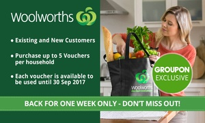 Woolworths Online: Woolworths Online: $5 for $30 to Spend on Groceries - Min. Spend $150 - Existing & New Customers