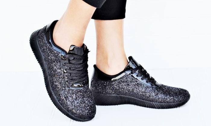 Mata Women's Lace-Up Glitter Sneakers