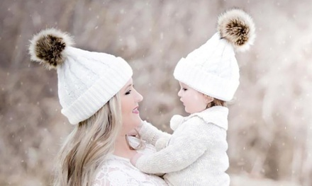 Parent and Baby Ribbed Pom Pom Hats in Choice of Colour