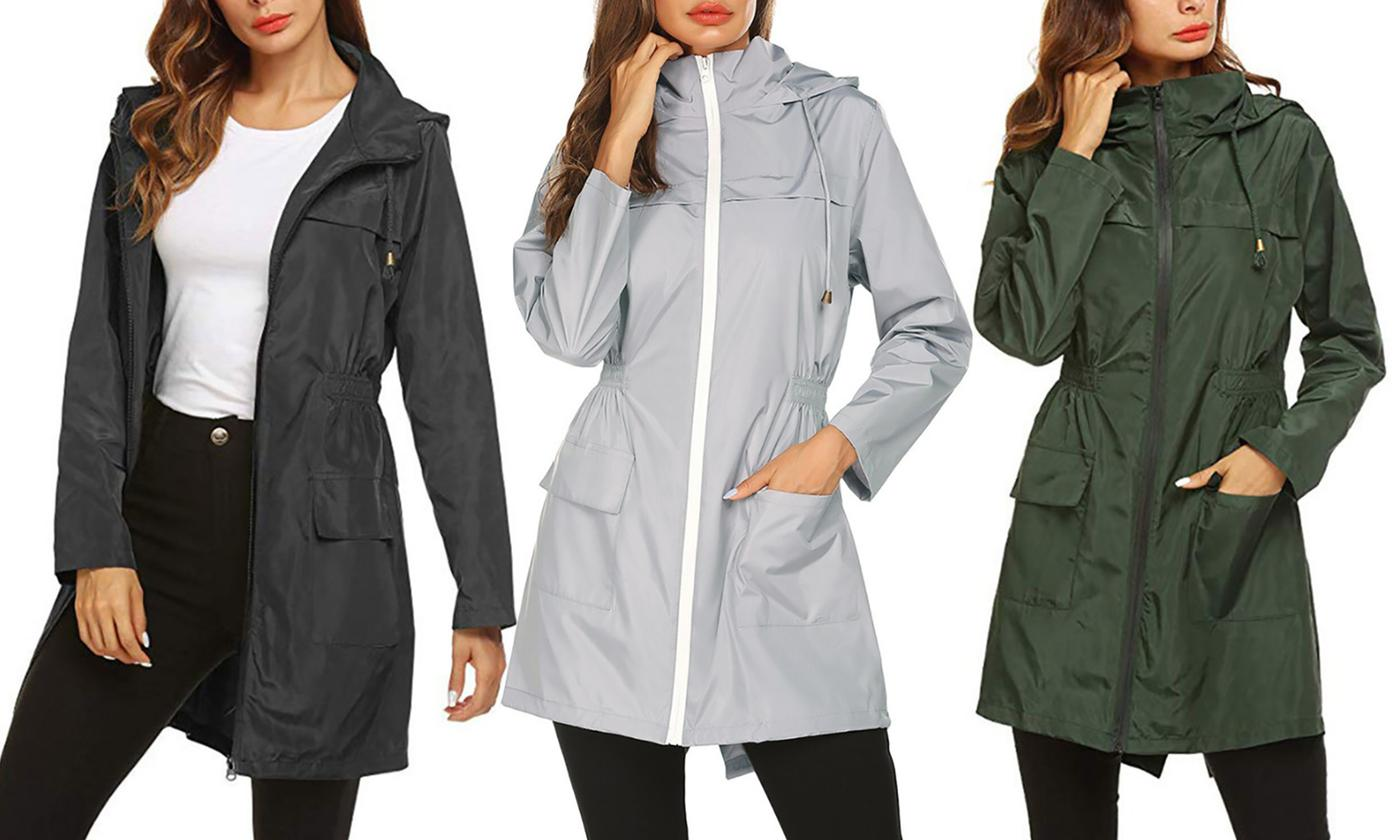 Women Zipper Hooded Waterproof Raincoat