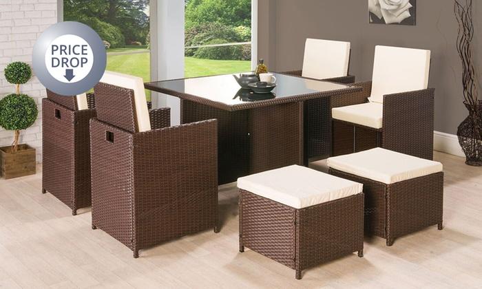 Rattan garden furniture set groupon for Outdoor furniture groupon